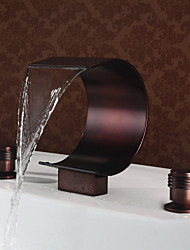 cheap -Waterfall Oil-rubbed Bronze Deck Mounted Two Handles Three HolesBath Taps /-Brass Bathroom Sink Faucet