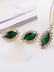 cheap -Cubic Zirconia Jewelry Set Luxury Vintage Party Work Fashion Zircon Cubic Zirconia Earrings Jewelry Gold / Green For Party Special Occasion Anniversary Birthday Gift 1 set / Necklace