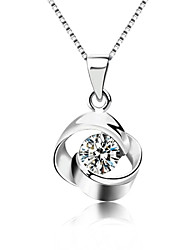 cheap -Women's Crystal Pendant Necklace Solitaire faceter Ladies Fashion Bling Bling Sterling Silver Crystal Silver Silver Necklace Jewelry For Party Daily Casual