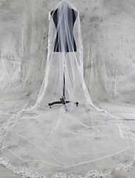 cheap -One-tier Lace Applique Edge Wedding Veil Chapel Veils / Cathedral Veils with Appliques Tulle / Angel cut / Waterfall