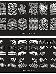 cheap -6 pcs Nail Jewelry Stamping Plate nail art Manicure Pedicure Flower / Fashion Daily / Metal