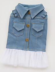 cheap -Dog Dress Denim Jacket / Jeans Jacket Dog Clothes Blue Costume Cotton Jeans Fashion S M L XL XXL