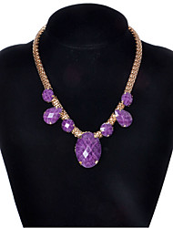 cheap -Women's Pendant Necklace Mother Daughter faceter Ladies European Simple Style Acrylic Alloy Purple Gold Necklace Jewelry For