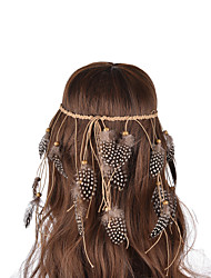 cheap -Indiana Style Thick String Weave Wooden Beads  Wave Point Pheasant Feather  Hair Accessories