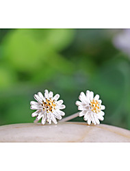 cheap -Women's Stud Earrings Flower Daisy Ladies Sterling Silver Silver Earrings Jewelry White / Yellow For Wedding Party Daily