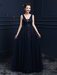 cheap -Ball Gown Elegant Prom Formal Evening Dress V Neck Sleeveless Floor Length Lace Tulle with Lace Beading 2020