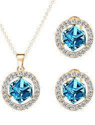 cheap -Women's Cubic Zirconia Jewelry Set Ladies Zircon Rhinestone Earrings Jewelry Green / Blue / Champagne For Wedding Party Daily Casual / Necklace