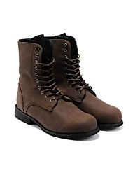 cheap -Men's Comfort Shoes Faux Leather Fall / Winter British Boots 5.08-10.16 cm / Mid-Calf Boots Black / Brown / Lace-up / EU41