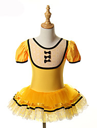 cheap -Ballet Dresses / Tutus & Skirts / Tutus Training / Performance Spandex / Tulle Bow(s) Short Sleeves Halloween Decorations / Princess Dress