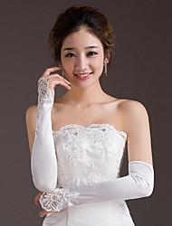 cheap -Satin / Polyester Opera Length Glove Classical / Bridal Gloves With Solid