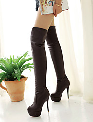cheap -Women's Over-The-Knee Boots Stiletto Heel Synthetic >50.8 cm Basic Pump Winter Black / Brown / White / Knee High Boots