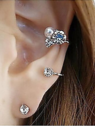 cheap -Women's Crystal Stud Earrings cuff Crystal Imitation Diamond Earrings Jewelry Silver / Golden For Party Daily Casual