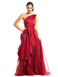 cheap -A-Line Elegant Prom Formal Evening Dress One Shoulder Sleeveless Floor Length Organza Satin with Side Draping 2020