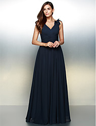 cheap -A-Line Elegant Prom Formal Evening Dress V Neck Sleeveless Floor Length Chiffon with Ruched 2021