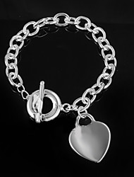 cheap -Women's Chain Bracelet Love Unique Design Fashion Sterling Silver Bracelet Jewelry Silver For Wedding Party Daily Casual
