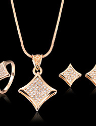 cheap -Cubic Zirconia Jewelry Set Stud Earrings Pendant Necklace Statement Luxury Party Work Casual Fashion Zircon Cubic Zirconia Rose Gold Plated Earrings Jewelry Rose Gold For Party Special Occasion