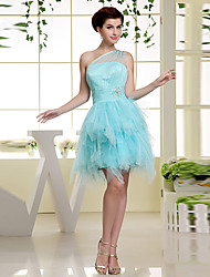 cheap -A-Line Formal Evening Dress One Shoulder Short / Mini Chiffon with Side Draping 2021