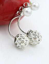 cheap -Women's Cubic Zirconia Jacket Earrings Classic Office / career Pearl Imitation Pearl Zircon Earrings Jewelry Silver / Golden For Daily Casual