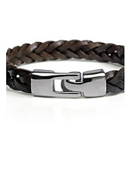 cheap -Men's Leather Bracelet Plaited Wrap Classic Party Work Casual Basic Leather Bracelet Jewelry Black / Brown For Gift Daily Casual Sports Valentine