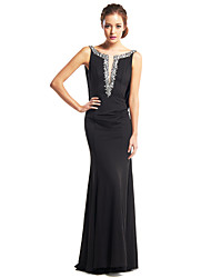 cheap -Mermaid / Trumpet Scoop Neck Floor Length Jersey Beautiful Back Prom / Formal Evening Dress with Beading 2020