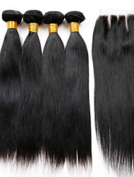 cheap -Hair Weaves Peruvian Hair Straight Human Hair Extensions Virgin Human Hair Hair Weft with Closure