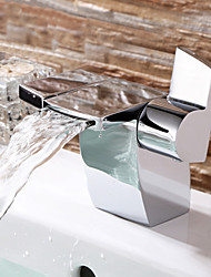 cheap -Bathroom Sink Faucet - Waterfall Chrome Deck Mounted Two Handles One HoleBath Taps
