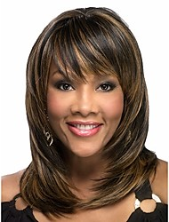 cheap -Synthetic Wig Wavy Wavy Wig Ombre Medium Length Brown Rainbow Ombre Black / Medium Auburn Synthetic Hair Women's African American Wig Multi-color Brown Ombre