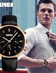 Недорогие -мода мужские часы неделе календарь смотреть водонепроницаемые часы подлинные кожаный ремень бизнес