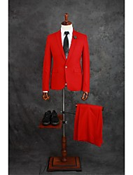 cheap -Red Solid Colored Tailored Fit Cotton Blend Suit - Notch Single Breasted One-button / Suits