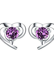 cheap -Women's Crystal Stud Earrings Solitaire Round Cut Heart Love Hollow Heart Ladies Sterling Silver Crystal Silver Earrings Jewelry White / Purple For Wedding Party Daily Masquerade Engagement Party Prom