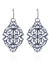 cheap -Women's Drop Earrings Hollow Flower Carved Silver Plated Earrings Jewelry Silver For Party Daily Casual