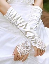 cheap -Cotton / Satin / Polyester Wrist Length / Elbow Length Glove Charm / Stylish / Bridal Gloves With Acrylic / Embroidery / Solid
