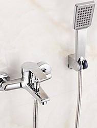 abordables -Robinet de douche / Robinet de baignoire - Moderne Chrome Baignoire et douche Soupape céramique Bath Shower Mixer Taps / Mitigeur deux trous