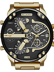 cheap -Men's Military Watch Quartz Stainless Steel Black / Grey / Gold Calendar / date / day Dual Time Zones Three Time Zones Analog Black Gray Golden