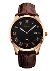 cheap -Men's Wrist Watch Quartz Leather Black / Brown 30 m Water Resistant / Waterproof Calendar / date / day Analog Luxury Classic Aristo - Black Gold / White Gold / Black / Stainless Steel