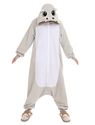 cheap -NEWCOSPLAY Grey Hippo Polar Fleece Adult Kigurumi Pajama