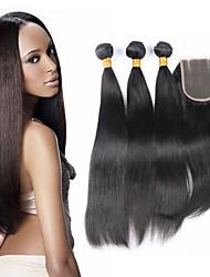 cheap -Brazilian Hair Straight Virgin Human Hair Hair Weft with Closure Human Hair Weaves Human Hair Extensions