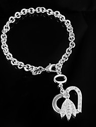 cheap -Women's Chain Bracelet Love Sterling Silver Bracelet Jewelry Silver For Wedding Party Daily Casual