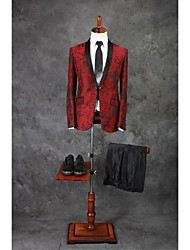 cheap -Burgundy Pattern Tailored Fit Polyester Suit - Shawl Collar Single Breasted One-button / Pattern / Print / Suits