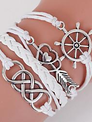 abordables -Bracelet Multi Tour Loom Bracelet Homme Femme Amour Ancre Bohème Couche double Bracelet Bijoux Blanche Forme Géométrique pour Quotidien Décontracté