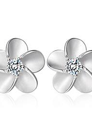 cheap -Women's AAA Cubic Zirconia Stud Earrings Ladies Fashion Sterling Silver Crystal Zircon Earrings Jewelry Silver For Wedding Party Daily