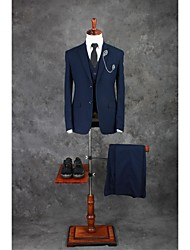 cheap -Ink Blue Solid Colored Tailored Fit Cotton Blend Suit - Notch Single Breasted Two-buttons / Suits