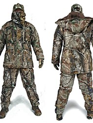 cheap -Men's Hunting Jacket with Pants Hunting Suit Camo / Camouflage Winter Outdoor Thermal / Warm Waterproof Windproof Breathable Fleece Elastane Cotton Winter Jacket Hoodie Jacket and Pants Top Camping