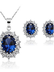 cheap -Women's Sapphire Synthetic Sapphire Jewelry Set Solitaire Oval Cut Ladies Fashion Earrings Jewelry Blue For Wedding Party Daily Masquerade Engagement Party Prom / Necklace / Diamond