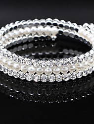 cheap -Women's Strand Round Bangles Imitation Pearl Bracelet Jewelry Silver For Wedding Party Special Occasion Anniversary Birthday Engagement / Gift / Daily / Casual