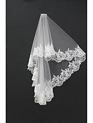 cheap -Two-tier Lace Applique Edge Wedding Veil Blusher Veils / Shoulder Veils / Fingertip Veils with Appliques Tulle / Drop Veil