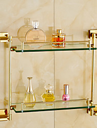 cheap -Bathroom Shelf Contemporary Brass and Glass 2 Layers Storage Shelf Wall Mounted Golden 1pc