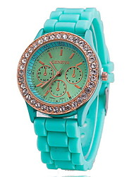 cheap -Women's Wrist Watch Hot Sale Rose Gold Plated / Silicone Band Charm / Fashion / Dress Watch Blue / Red / One Year / SSUO 377