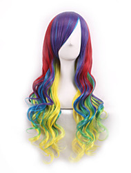 cheap -Synthetic Wig Curly Body Wave Body Wave Asymmetrical Wig Long Rainbow Synthetic Hair Women's Ombre Hair Green
