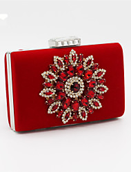 cheap -Women's Beading / Crystal / Rhinestone Satin Evening Bag Solid Colored Black / Red